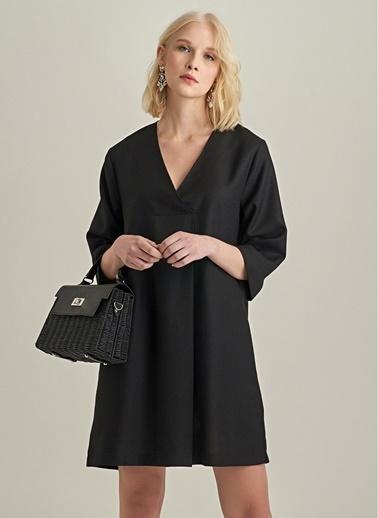 NGSTYLE V Yaka Elbise Siyah
